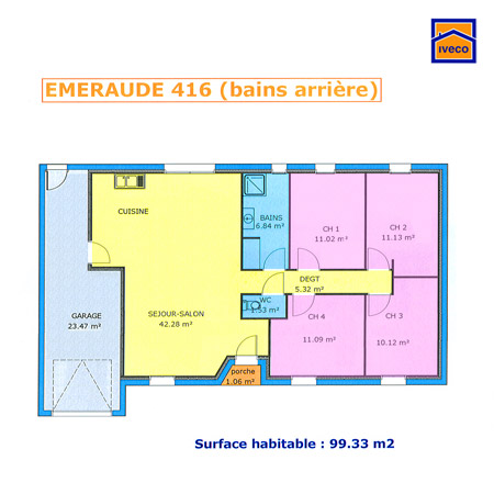Plan de maison individuelle plain pied for Plan maison 110m2 plain pied