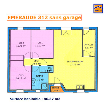 plan appartement 70m2 3 chambres